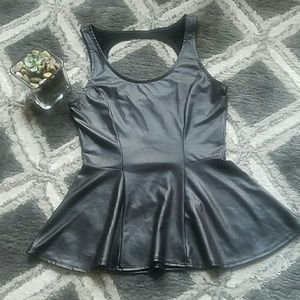 Kirra Vegan Leather Cutout Peplum Top